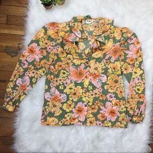 ✨ Vintage✨ Weathervan Ruffle Floral Blouse EUC 6